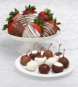 10 Dipped Cherries & Half Dozen Swizzled Strawberries