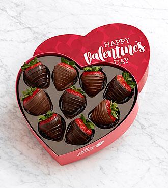9 Belgian Chocolate Strawberries in a Valentine's Heart Box
