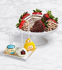 3 Get Well Brownie Pops & Half Dozen Fancy Strawberries