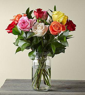 Mixed 1 Dozen Long Stem Roses