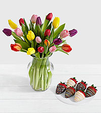 20 Rainbow Tulips with 6 Birthday Strawberries