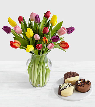 20 Rainbow Tulips with Dipped Cheesecake Trio