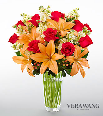 The FTD® Luxe Looks™ Bouquet by Vera Wang - CUT GLASS VASE INCLUDED