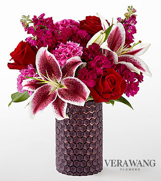 The FTD® Vibrant Fuchsia™ Bouquet by Vera Wang- VASE INCLUDED