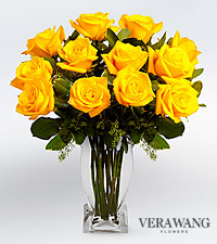 Vera Wang Yellow Rose Bouquet - 12 Stems Premium Roses - VASE INCLUDED