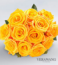 Vera Wang Yellow Rose Bouquet - 12 Stems Premium Roses, No Vase
