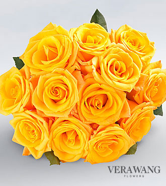 Vera Wang Yellow Rose Bouquet - 12 Stems, No Vase