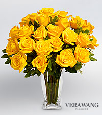 Vera Wang Yellow Rose Bouquet - 24 Stems Premium Roses - VASE INCLUDED