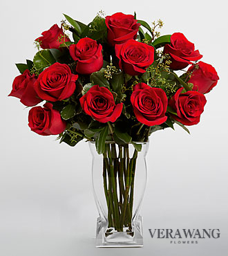 Vera Wang Red Rose Bouquet - 12 Stems Premium Roses - VASE INCLUDED