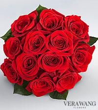 Vera Wang Red Rose Bouquet - 12 Stems Premium Roses, No Vase
