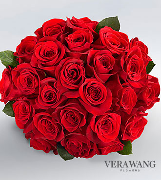 Vera Wang Red Rose Bouquet - 24 Stems Premium Roses, No Vase