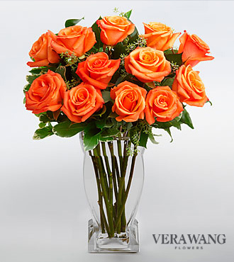 Vera Wang Orange Rose Bouquet  - 12 Stems Premium Roses - VASE INCLUDED