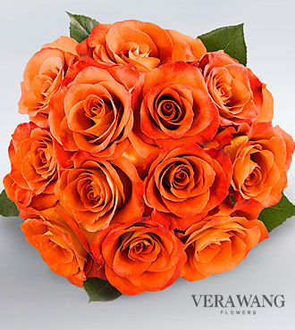 Vera Wang Orange Rose Bouquet - 12 Stems Premium Roses, No Vase