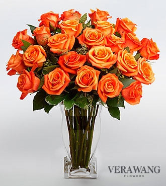Vera Wang Orange Rose Bouquet  - 24 Stems Premium Roses - VASE INCLUDED