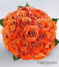 Vera Wang Orange Rose Bouquet - 24 Stems Premium Roses, No Vase