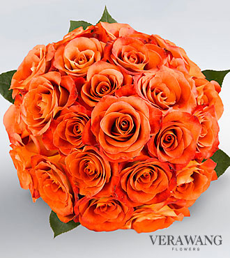 Vera Wang Orange Rose Bouquet - 24 Stems, No Vase