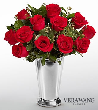 Vera Wang Love is the Way Rose Bouquet - 12 Stems - VASE INCLUDED