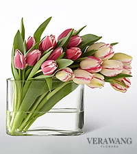 Vera Wang Swept Away Tulip Bouquet  - 20 Stems- VASE INCLUDED