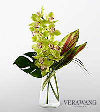 Vera Wang Unforgettable Elegance Cymbidium Orchid Fashion Bouquet - VASE INCLUDED