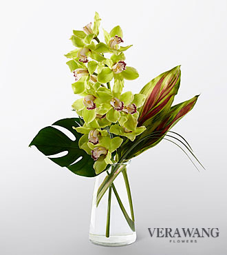 Vera Wang Unforgettable Elegance Cymbidium Orchid Fashion Bouquet - VASE INCLUDED