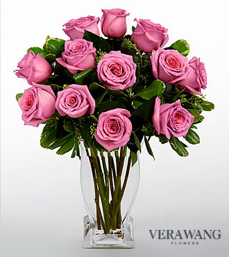 Vera Wang Lavender Rose Bouquet - 12 Stems  - VASE INCLUDED