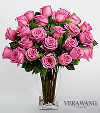 Vera Wang Lavender Rose Bouquet - 24 Stems - VASE INCLUDED