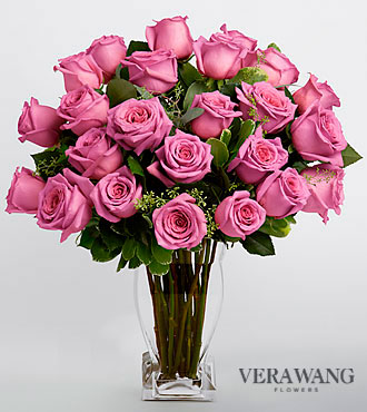 Vera Wang Lavender Rose Bouquet - 24 Stems Premium Roses- VASE INCLUDED