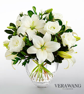 The FTD® White Elegance™ Bouquet by Vera Wang - CUT GLASS VASE INCLUDED