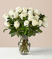 24 Stem Moonlight White Rose Bouquet With Ginger Vase