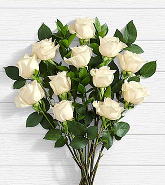 12 Stem Moonlight White Rose Bouquet
