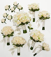 Ivory Inspirations Bride & Maid of Honor Bouquets with Groom & Best Man Boutonnieres