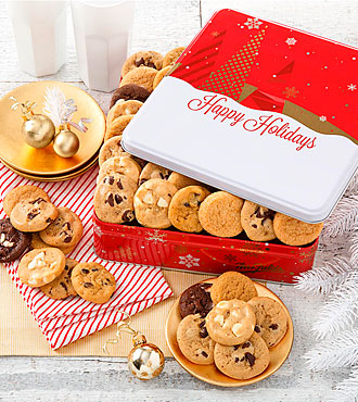Mrs. Fields® Holiday Cookie Tin - 60 Nibblers