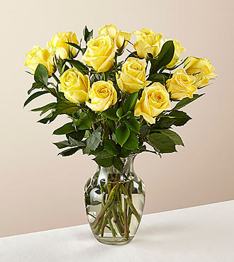12 Stem Ray of Sunshine Yellow Rose Bouquet in Glass Vase