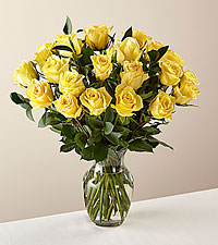 24 Stem Ray of Sunshine Yellow Rose Bouquet in Glass Vase