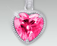 Created Pink & Created White Sapphire Heart Shaped Pendant