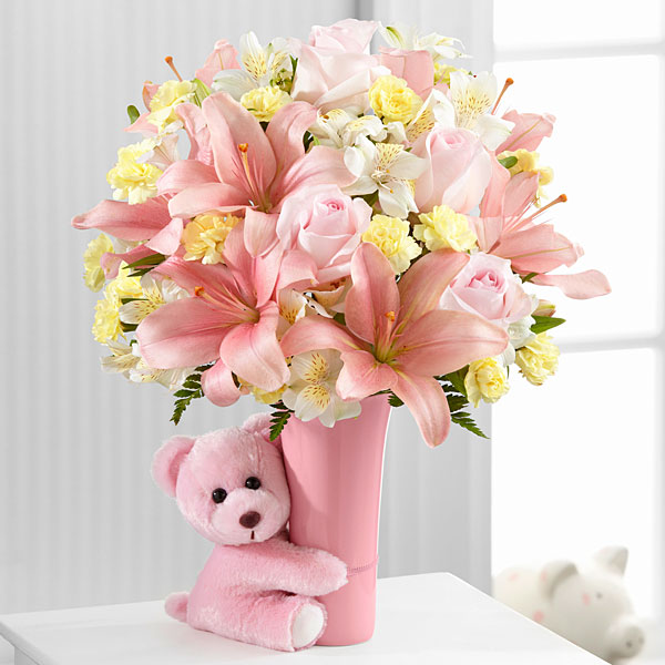 New baby gift baskets send new baby flowers gifts ftd the baby girl big hug bouquet by ftd vase included negle Choice Image