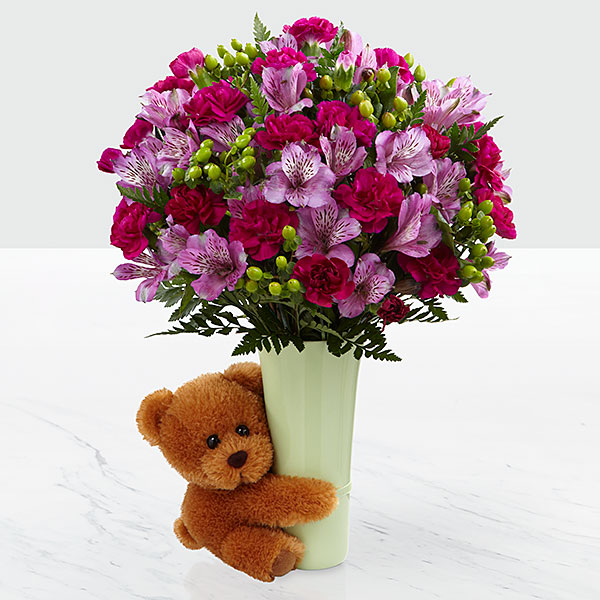 New baby gift baskets send new baby flowers gifts ftd the big hug bouquet by ftd vase included negle Images
