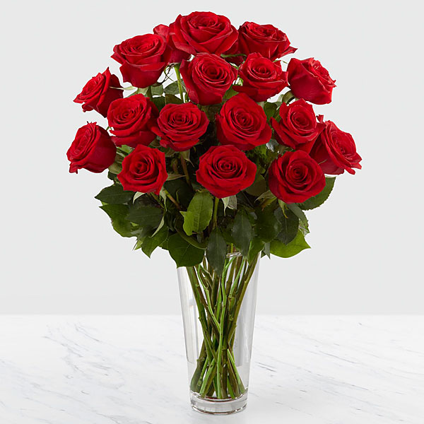 The ftd long stem red rose bouquet vase included