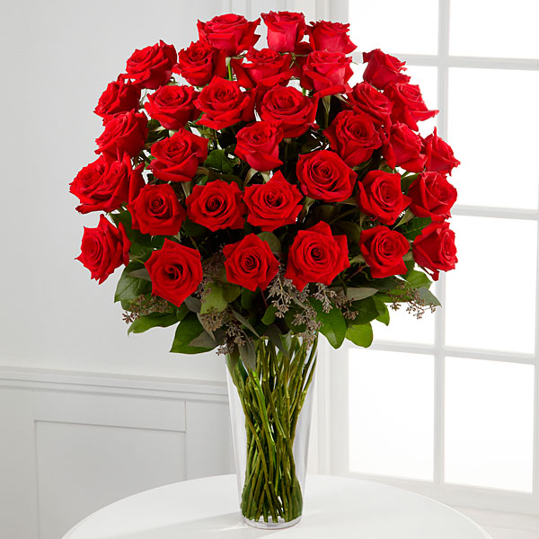 The Long Stem Red Rose Bouquet - 36 Stems - VASE INCLUDED
