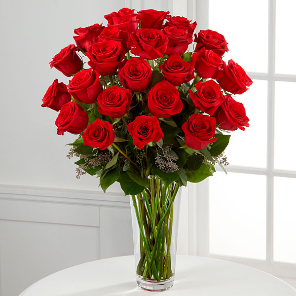 The Long Stem Red Rose Bouquet Vase Included
