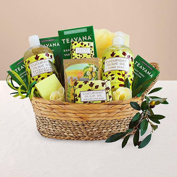 Cucumber and Olive Oil Pamper Her basket