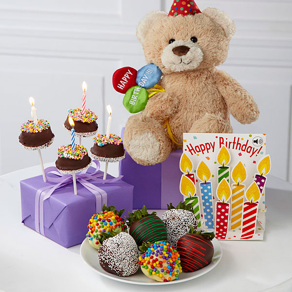 Belgian Chocolate Dipped Birthday Berry, Brownie Pop, Bear & Card