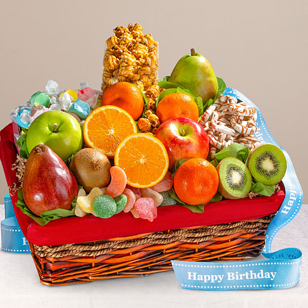 Gift baskets unique food gift baskets delivered by ftd happy birthday gourmet fruit basket negle Image collections