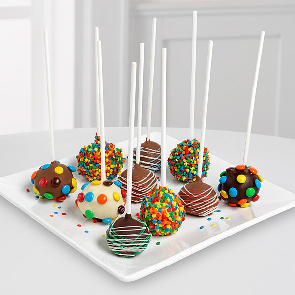 Incredible Belgian Chocolate Dipped Birthday Celebration Cake Pops 10 Piece Personalised Birthday Cards Veneteletsinfo