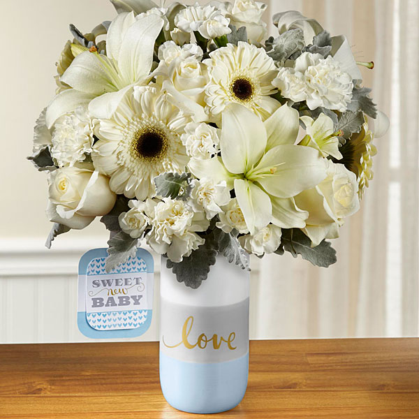 The FTD® Sweet Baby Boy™ Bouquet by Hallmark - VASE INCLUDED