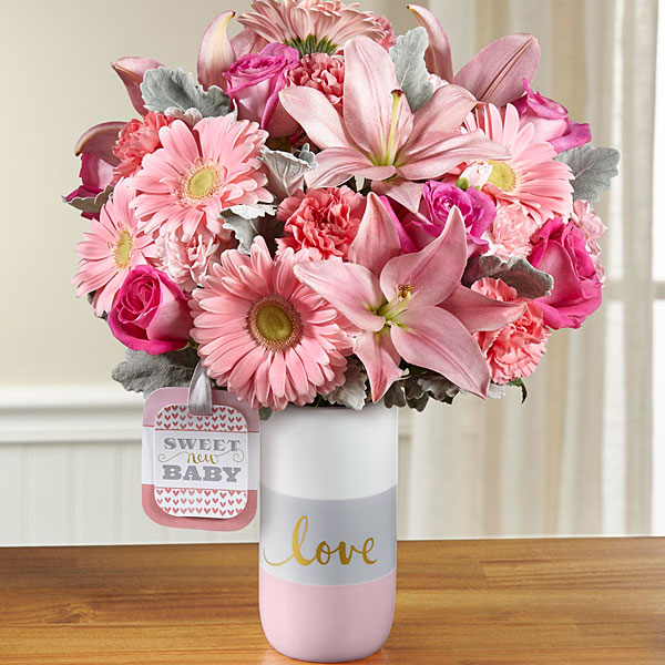 New baby gift baskets send new baby flowers gifts ftd the ftd sweet baby girl bouquet by hallmark negle Choice Image